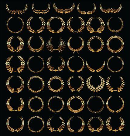 gold silver: Laurel wreath retro vintage collection