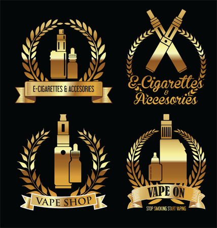 Vape shop golden laurel wreaths sign retro collection