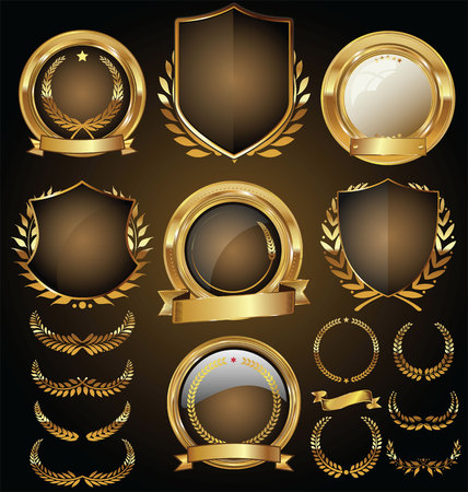 shielding: Vector medieval golden shields laurel wreaths and badges collection Illustration