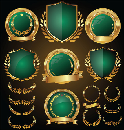 Vector medieval golden shields laurel wreaths and badges collection Vectores