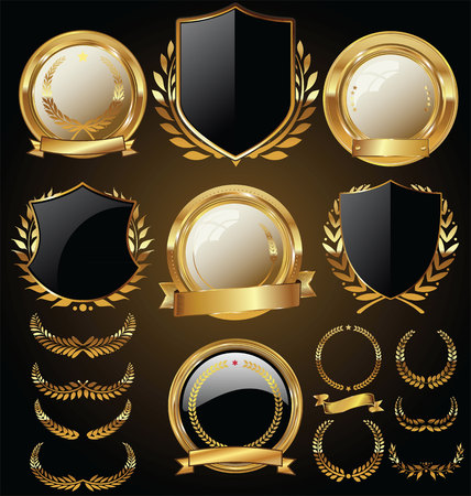 Vector medieval golden shields laurel wreaths and badges collection Ilustração