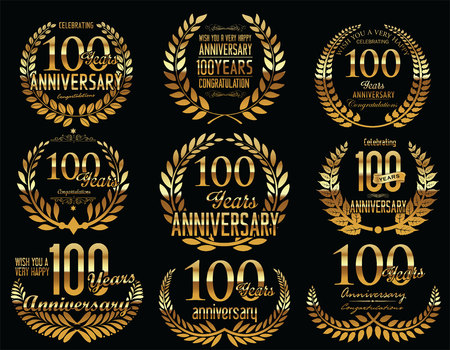 hundred: Anniversary Golden Laurel wreath retro vintage collection