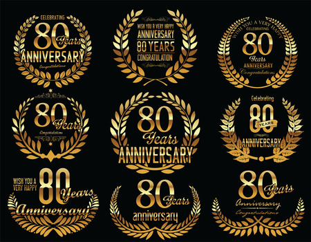 80 year old: Anniversary Golden Laurel wreath retro vintage collection
