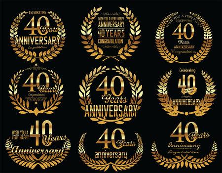 40: Anniversary Golden Laurel wreath retro vintage collection