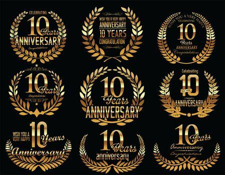 ten years jubilee: Anniversary Golden Laurel wreath retro vintage collection