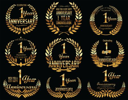 one year old: Anniversary Golden Laurel wreath retro vintage collection