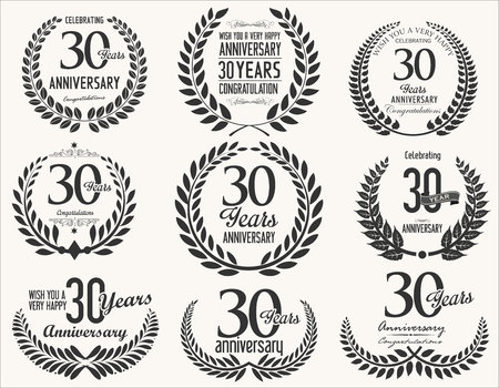 30 years: Anniversary Laurel wreath retro vintage collection