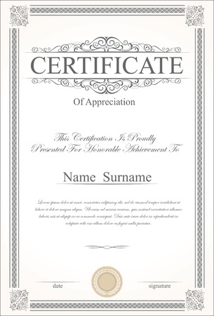 victorian scroll: Retro vintage certificate or diploma template