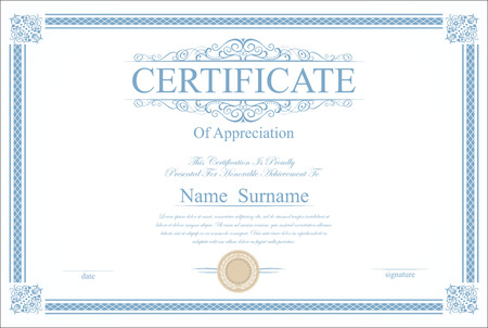 scroll design: Retro vintage certificate or diploma template