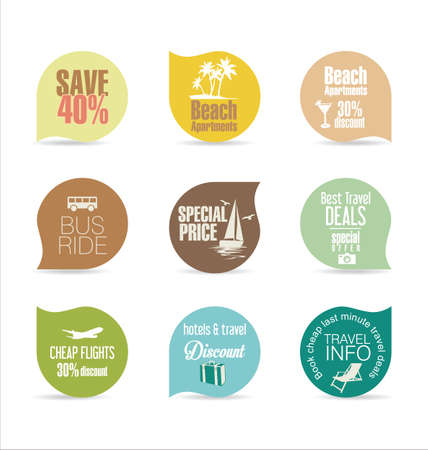 holiday vacation: Holiday vacation stickers and labels design Illustration
