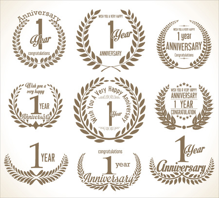 one year old: Anniversary Laurel wreath retro vintage collection 1 year