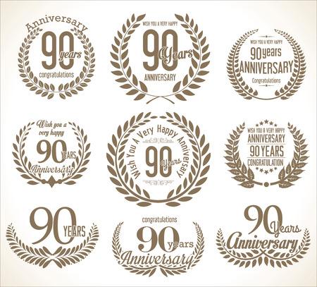 90: Anniversary Laurel wreath retro vintage collection 90 years
