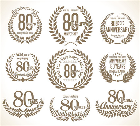 80 years: Anniversary Laurel wreath retro vintage collection 80 years