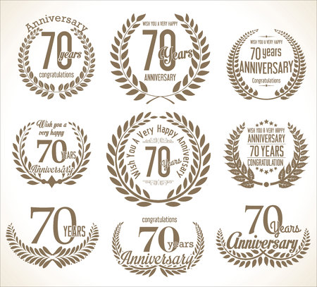 year old: Anniversary Laurel wreath retro vintage collection 70 years Illustration