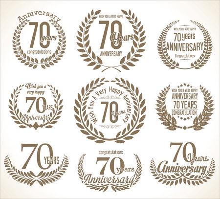 70: Anniversary Laurel wreath retro vintage collection 70 years Illustration