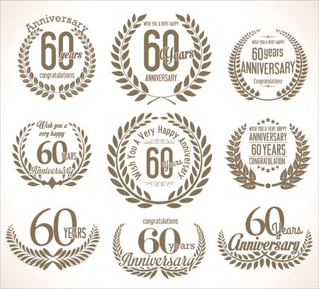 60 years: Anniversary Laurel wreath retro vintage collection 60 years