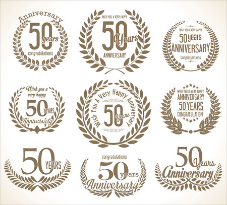 50: Anniversary Laurel wreath retro vintage collection 50 years Illustration