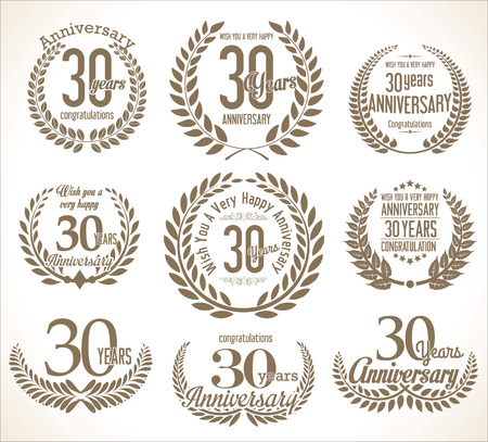 30 years: Anniversary Laurel wreath retro vintage collection 30 years Illustration