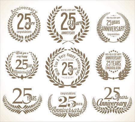 Aniversario Corona de laurel colección vintage retro años 25 Ilustración de vector