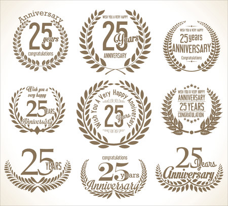 Anniversary Laurel wreath retro vintage collection 25 years Illustration