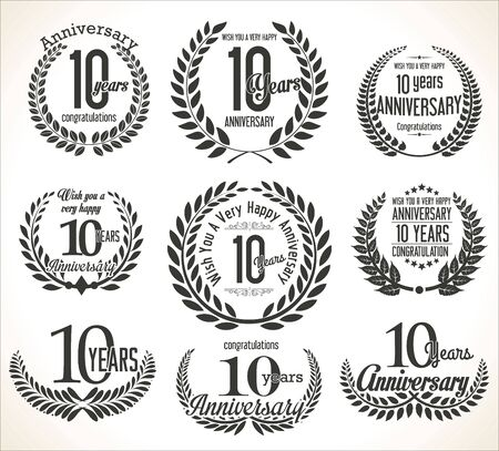 10: Anniversary Laurel wreath retro vintage collection 10 years Illustration
