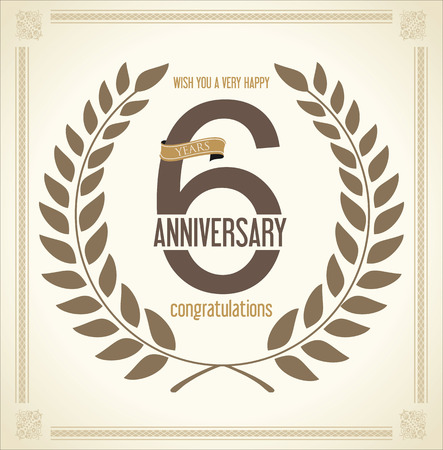 th: Anniversary Laurel wreath retro vintage collection 6 years