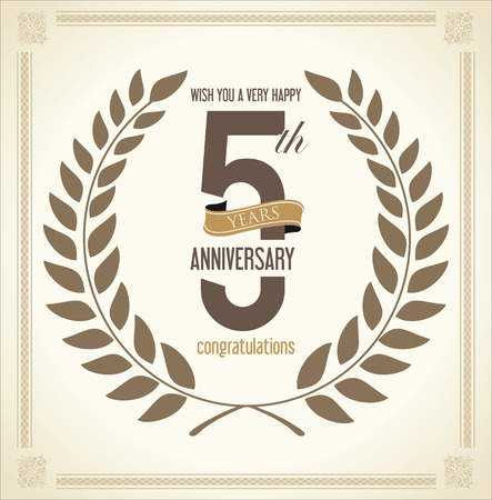 five years old: Anniversary Laurel wreath retro vintage collection 5 years Illustration