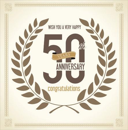 50 years: Anniversary Laurel wreath retro vintage collection 50 years Illustration