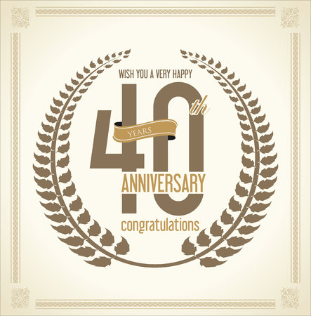 40 years: Anniversary Laurel wreath retro vintage collection 40 years Illustration