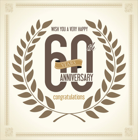 60: Anniversary Laurel wreath retro vintage collection 60 years