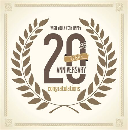 20 years: Anniversary Laurel wreath retro vintage collection 20 years