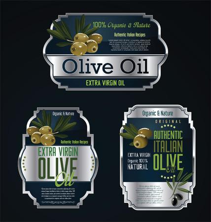 Olive oil labels and design elements Vetores