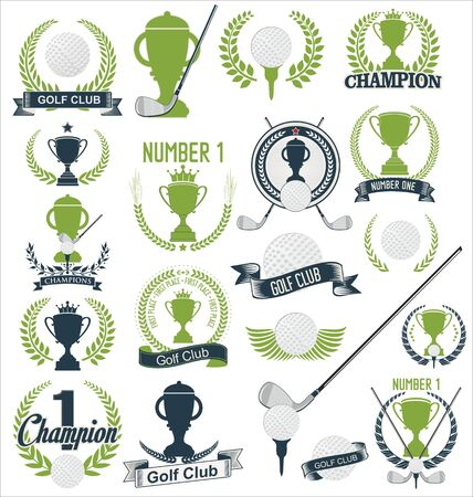 golfing: Golf and golfing sport design elements collection