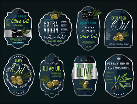 Olive oil retro vintage background collection Çizim