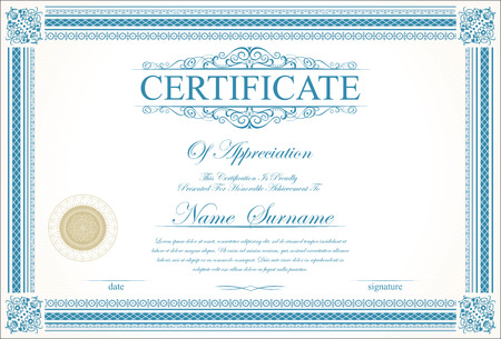 shares: Retro vintage certificate or diploma template