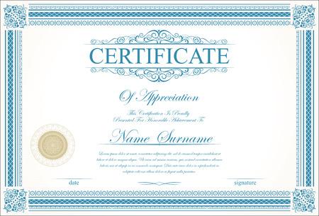 Retro vintage Zertifikat oder Diplom-Vorlage
