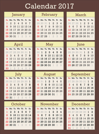 calender: Calendar for year 2017