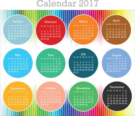 Calendrier pour l'année 2017 Vecteurs