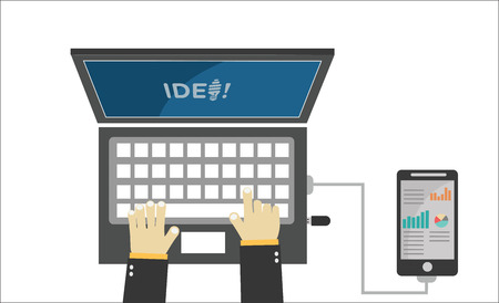 infographics touchscreen: hands hold device electronics gadget concept Illustration