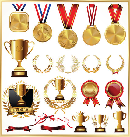 commemorate: Gold trophy and medal with laurel wreath collection