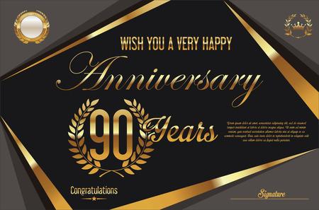 90 years: Anniversary retro vintage background