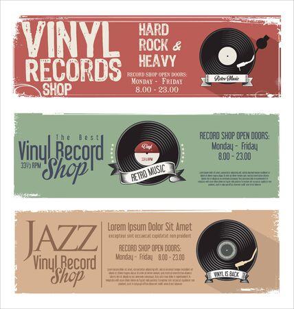turn sign: Vinyl record shop retro grunge banner