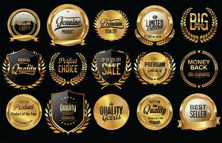 venta de oro protege coronas de laurel y colección de insignias Ilustración de vector