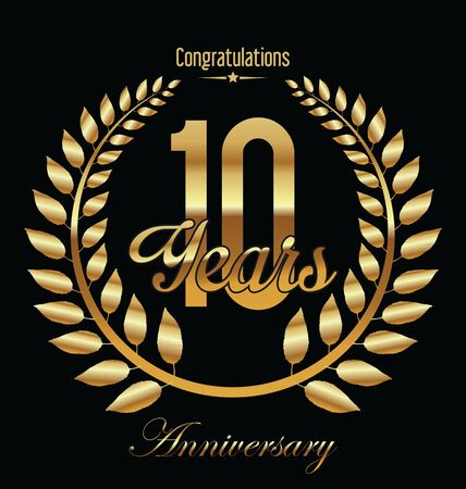 golden laurel wreath 10 years: Anniversary golden Laurel wreath on black background vector illustration 10 years Illustration