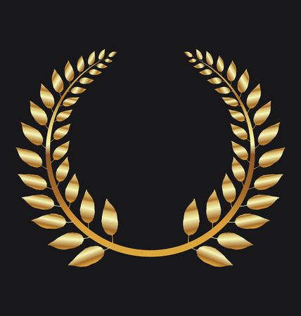 elite sport: Golden Laurel wreath on black background vector illustration Illustration