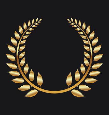 black wreath: Golden Laurel wreath on black background vector illustration Illustration