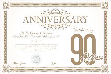 90 years: Anniversary retro vintage background vector 90 years Illustration