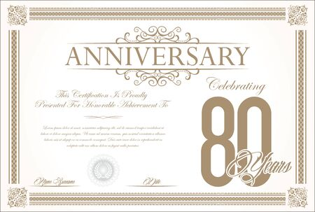 commemoration: Anniversary retro vintage background vector 80 years