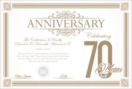 70 years: Anniversary retro vintage background vector 70 years