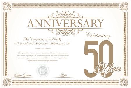 Anniversary retro vintage background vector 50 years Illustration